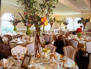 Wedding Table with Beautiful Floral Centerpiece
